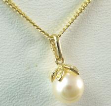 585 er Gold 14 Karat Gelbgold Kette mit  Anhänger  weiße Perle  Zirkonia