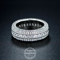 18K White Gold Women's Princess Cut Pave Eternity Wedding Band Ring 4-10 ITALY