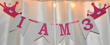 happy birthday its a girl hot pink,whit polka dot, princess crown  banner/sign