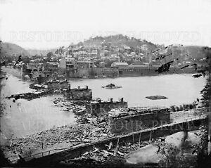 Harpers Ferry WV B&O bridge Civil War ruin 1862, new 8x10 black and white photo