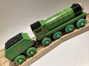 Thomas Wooden Henry 2000s Vintage Train Set Green Railway Engine Coal Tender Car