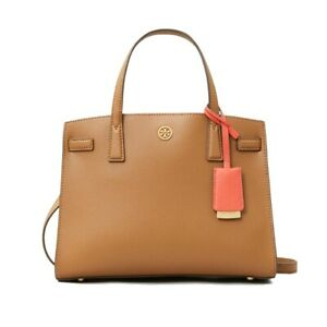 NWT TORY BURCH Walker Small Satchel Classic Luxury Moose Saddle 73625 FREE SHP