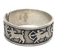 Vintage Sterling Silver Ring 925 Size 8 Zodiac Sagittarius Band Signed