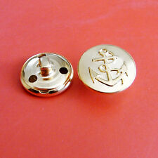 10 Metal Brass Army Military Anchor Dress Sew On Buttons Shiny Gold 18mm G222