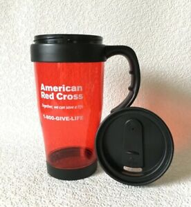 """American Red Cross Travel Mug Cup Vintage w/Lid """"Together, We Can Save A Life"""""""