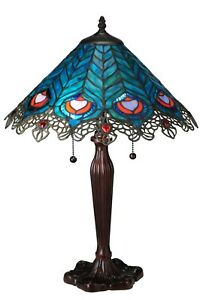"Meyda Lighting 23""H Peacock Feather Lace Table Lamp Opalescent Art Glass"