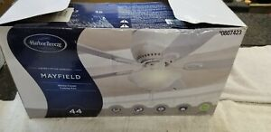 Harbor Breeze Mayfield 44-in White LED Indoor Flush Mount Ceiling Fan with Light
