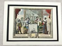 Hand Coloured Print French Abraham BOSSE The Five Senses Taste Le Goust