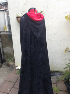 black crushed velvet cloak cape with a lined hood MADE TO ORDER