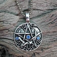 Wicca Antique Silver Tone Blue Crystals  Pentagram & Crescent Moons Pendant