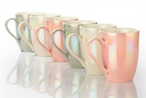 Kaffeebecher PEARL 320ml Set 6tlg. 3 Farben, Porzellan, rosé weiß grau perlmutt