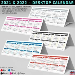 2021 / 2022 Desktop Calendar Planner StandUp Tent Card +Ruler ✔2 Years LAMINATED