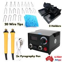 220V Wood Burner Pyrography Pen Burning Machine Gourd Crafts Tools Kit AU Plug