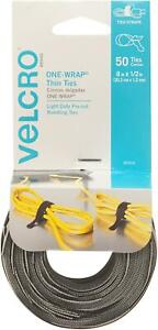 VELCRO Brand ONE WRAP Thin Ties   Strong & 8 x 1/2In - 50 Ties, Black/Gray