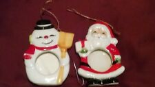 """SET OF TWO Picture Frame FROSTY THE Snow Man & SANTA Christmas Tree Ornament 4"""""""