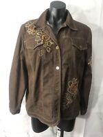 Alfred Dunner Womens Size 12 Brown Embellished Sequin Bling Denim Jean Jacket