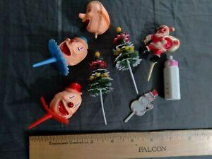 Vintage Clown Santa Christmas Baby Picks Cake Cupcake Toppers Plastic 8 Items NR