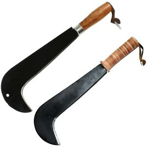 WOODEN OR LEATHER HANDLED BILL HOOK Sussex Type Curved Tree Bush Cutting Tool UK