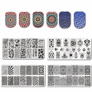Born Pretty 4Pcs Nail Art Stamp Stamping Templates Flower Leaf Geometric Pattern