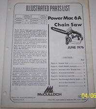 McCULLOCH CHAIN SAW POWER MAC 6A ORIGINAL OEM ILLUSTRATED PARTS LIST
