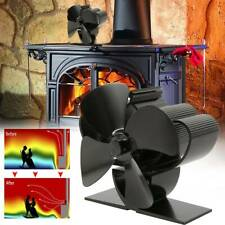 Quad 4 Blade Heat Fireplace Powered Stove Top Fan Wood Log Burner Eco Friendly