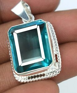 Gift Sales Sky Blue Topaz 42.55 Ct 925 Sterling Silver Pendant Free Chain Z4905