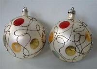Vintage 2 Mercury Glass Xmas Ornaments Bulbs MCM Multi Color Dots Mica Squiggle