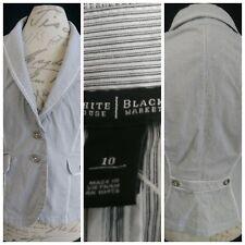 White House/Black Market Women Pin-Stripe Button-Front Cotton Blend Blazer 10