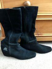 Black knee high suede boots size 6 Voodoo Dolls
