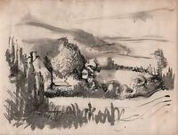 IMPRESSIONIST COTTAGES IN LANDSCAPE Watercolour Painting c1950