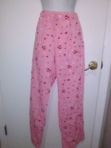 Ladies Sleep Pants Pink With Love Hearts Size Medium By Charlotte Russe