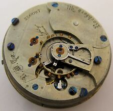 Pocket Watch Movement 18s Rockford Illinois model 6 exposed escapement