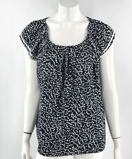 NY Collection Top Large Black White Polka Dot Flutter Cap Sleeve Blouse Womens