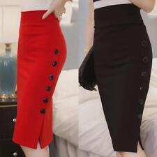 Womens Plain Bodycon Pencil High Waisted Ladies Stretch Midi Skirt Bodycon Skirt
