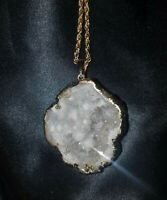 "Quartz Crystal Geode Clear Drusy pendant goldplated 14k plated 32"" chain, Reiki!"