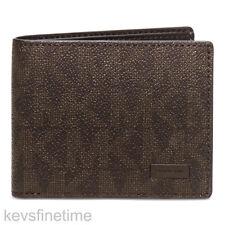 New Authentic Michael Kors Men Jet Set Slim Billfold Brown Logo PVC Wallet