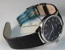 Brand New Eterna Soleure Black Dial Black Leather Strap Automatic Watch, unisex