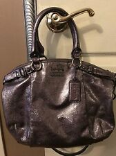 Pre Owned Coach metallic Madison leather Sophia Satchel  Silver