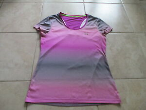 Under Armour Women Purple Gray Color Gradient T Shirt Size S Small