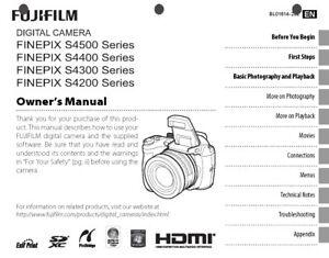 FujiFilm FinePix S4200 S4300 S4400 S4500 Digital Camera Owner's Manual Guide