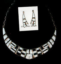 Buffalo Opal Jet Sterling Silver Indian Zuni Inlay Necklace & Earring Set White