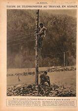 Equipe de Téléphonistes Travail en Alsace Peaux de Mouton WWI 1917 ILLUSTRATION
