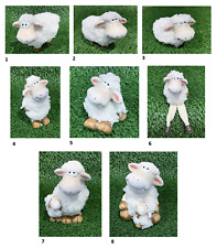 More details for novelty comical woolly sheep figurine farmyard ornament fluffy shaggy funky