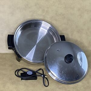 """Saladmaster 7256 Electric Skillet 12"""" Liquid Core Stainless Steel W/ Lid USA"""