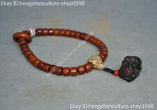 Chinese Cattle Ox horn carved brave troops beast Prayer beads Bracelet