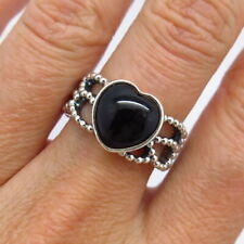 PANDORA Retired 925 Sterling Silver Black Onyx Gem Heart Ring Size 6.5