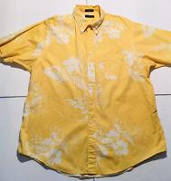 Nautica Mens Hawaiian Aloha Tropical Floral Print Camp Shirt Yellow White SZ 2XL