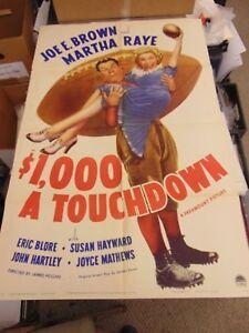 Joe E. Brown Martha Raye $1000 A Touchdown Original One-Sheet Poster N3035