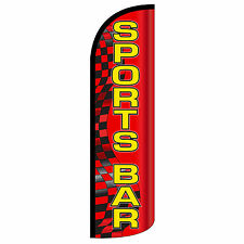 Sports Bar Swooper Flag and Pole Set Windless Banner Sign 3' Wide Red Yellow