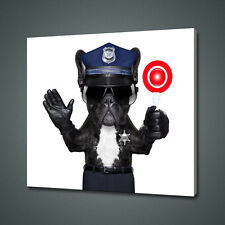 POLICE DOG FRENCH BULLDOG CANVAS PICTURE PRINT WALL ART HOME DECOR FREE DELIVERY